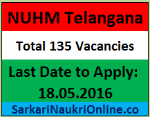 NUHM Telangana Recruitment 2016