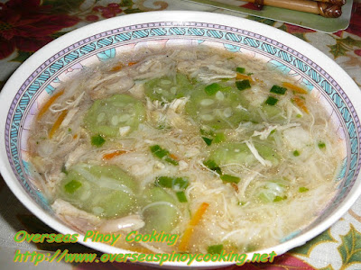Patola Misua Soup with Shredded Chicken Recipe