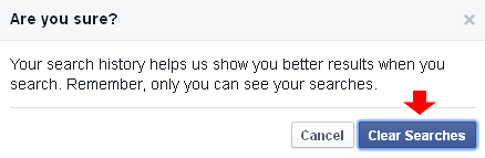 facebook clear searches confirmation
