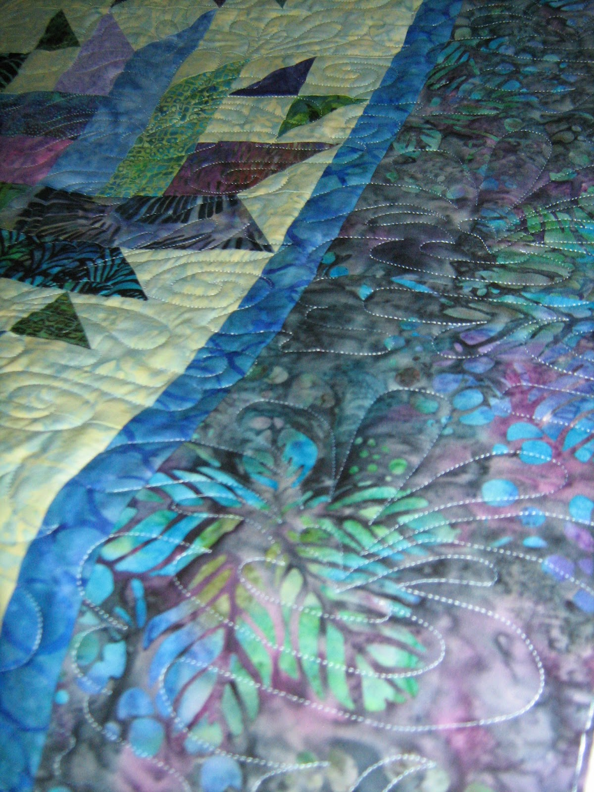 Inch By Inch Quilting Blue Batik Quilt