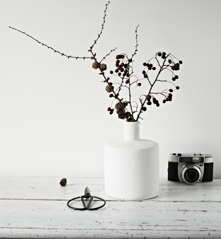 Blog + Fotografie by it's me! - weiße Steingutvase, alte Schere, analoge Kamera und Lärchenzzweig