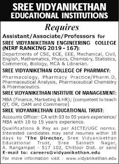 SVCP Sree Vidyanikethan College of Pharmacy, Chittoor, Professor / Associate Professor / Assistant Professor Jobs Recruitment 2019