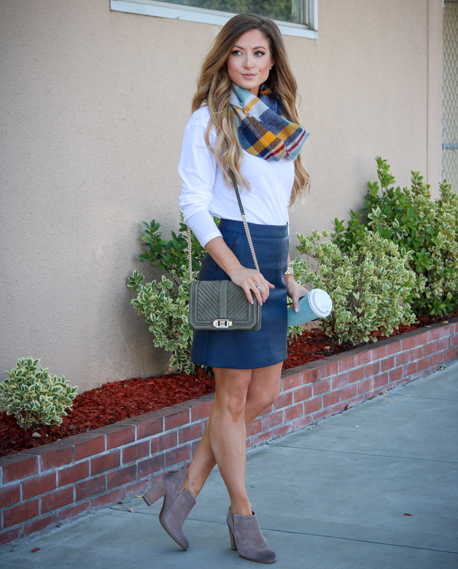 frou frou & frill plaid infinity scarf topshop skirt tan booties