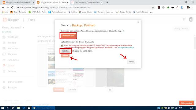 Pilih Download Tema untuk Melakukan Backup atau Pilih File untuk Mengganti Template