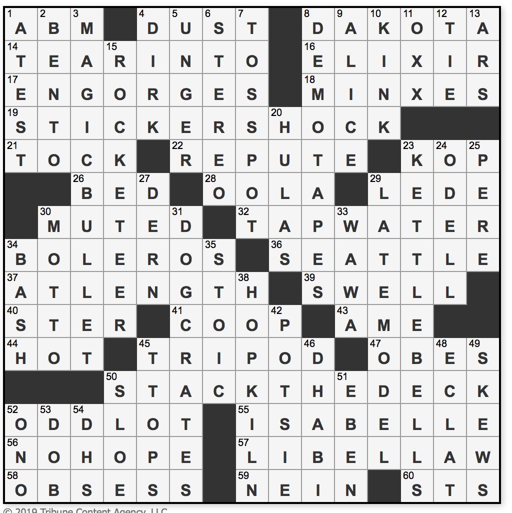 L A Times Crossword Corner Saturday March 30 2019 Pawel Fludzinski
