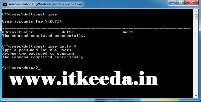 How to change Password with Command Prompt 5