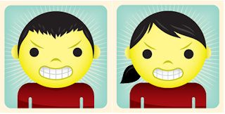 Illustrations of angry male and female