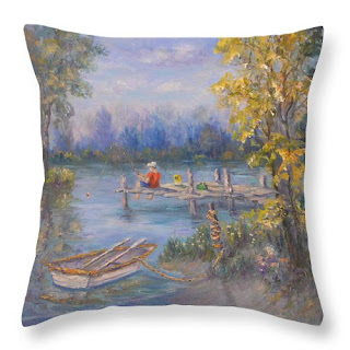 Home decor throw pillow of boy fishing boat and trees lake