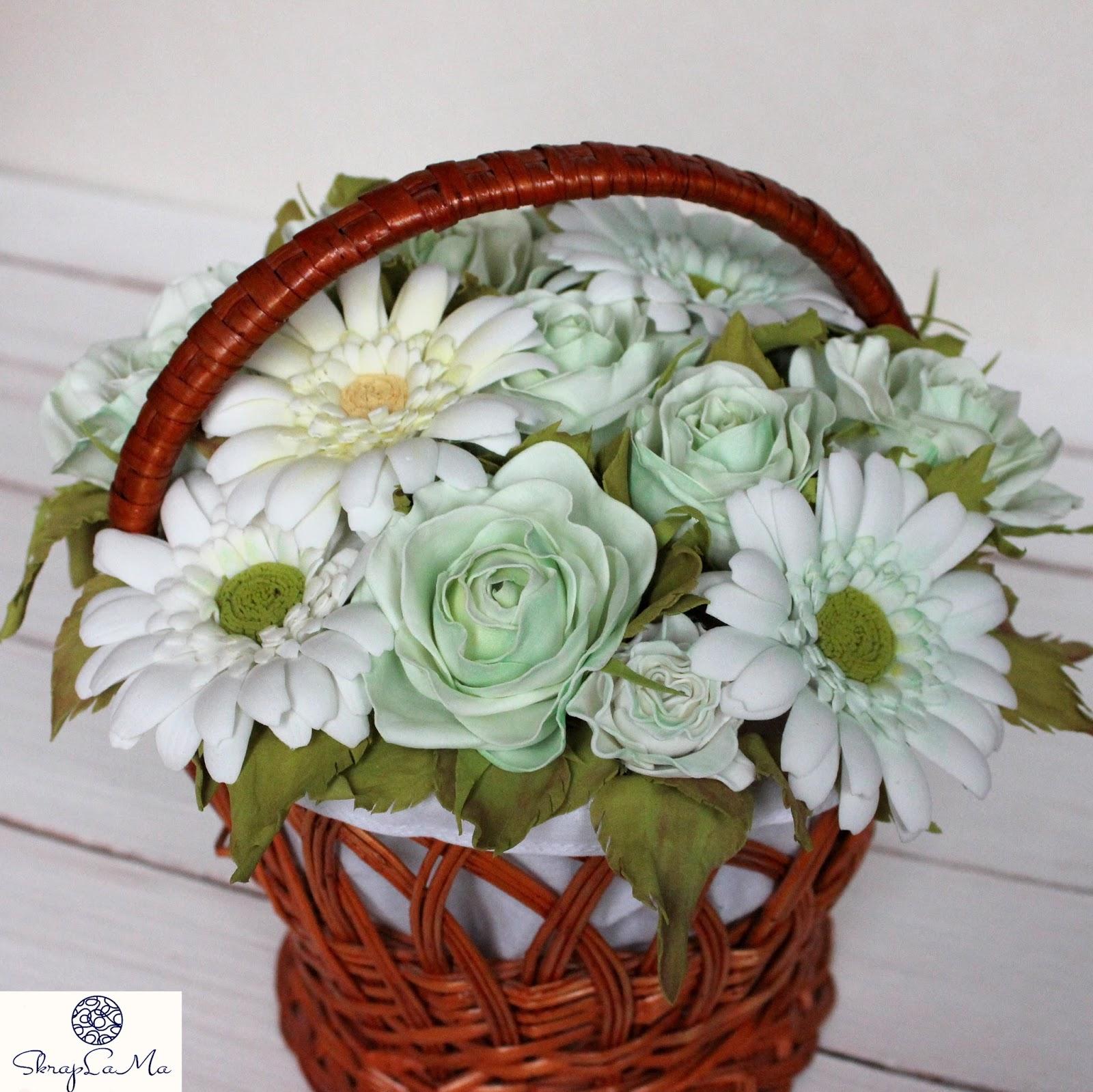 Букет, заказы корзины с цветами из фома