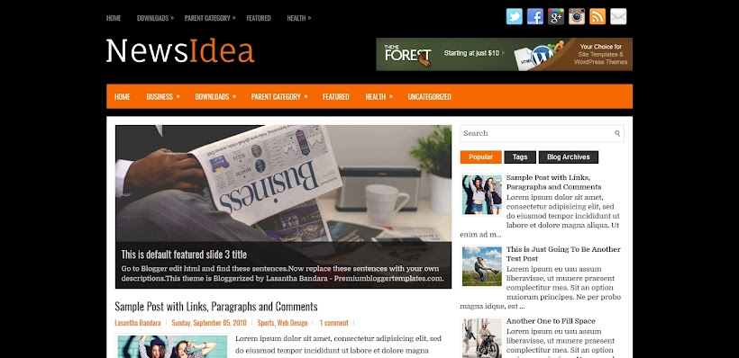 NewsIdea Free Blogger Template