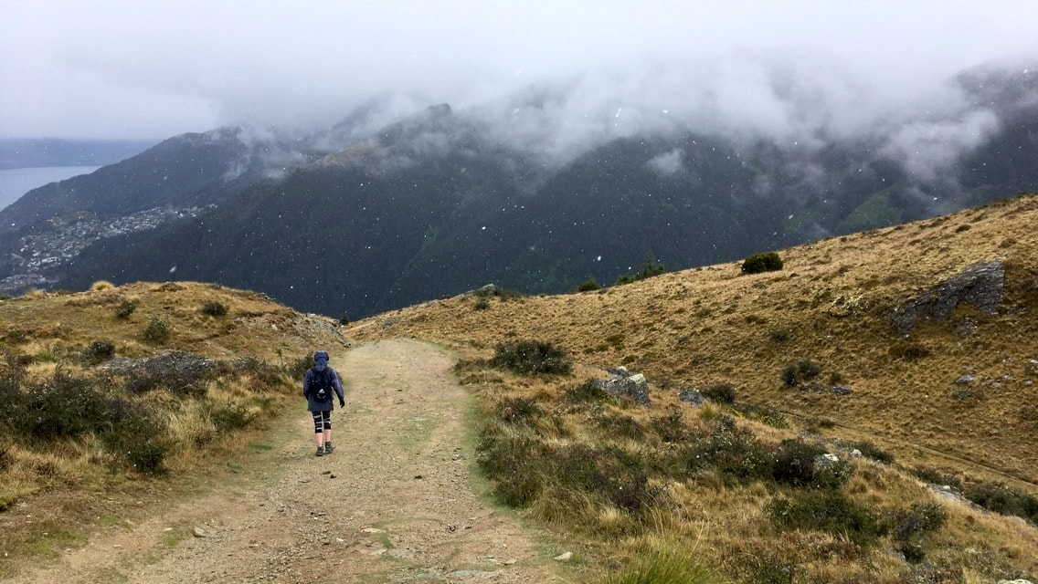 Snowing on Queenstown Hill, best walks in New Zealand