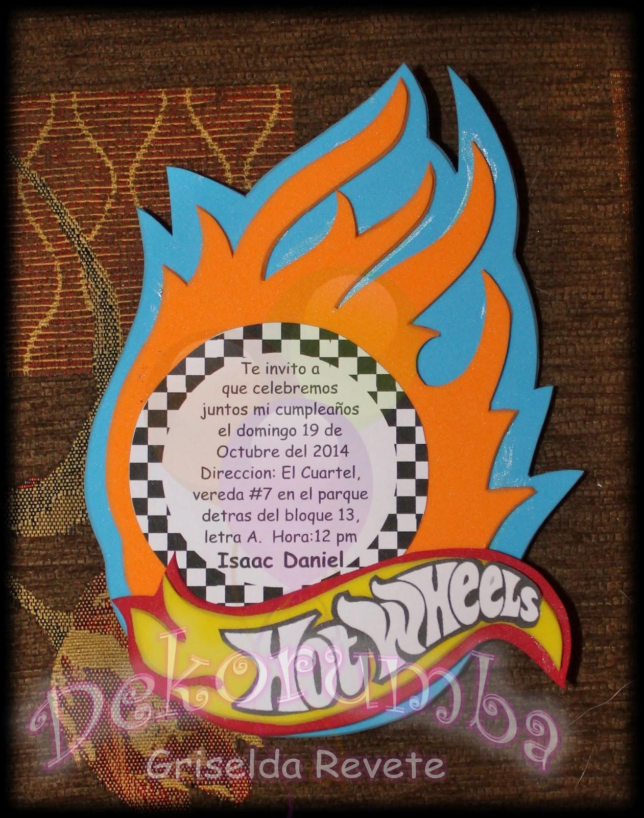 Dekorumba Tarjetas De Invitacion Hot Wheels