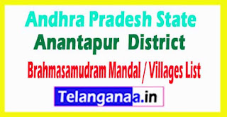Brahmasamudram Mandal Villages Codes Anantapur District Andhra Pradesh State India
