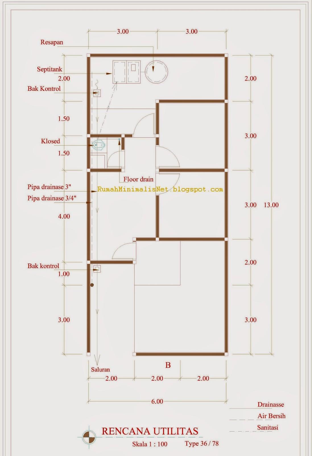 Konsep Terkini 46+ Contoh Denah Rumah Type 36 Autocad
