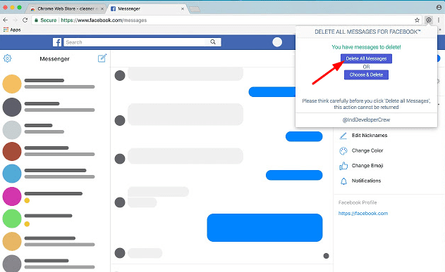 facebook message delete kaise kare