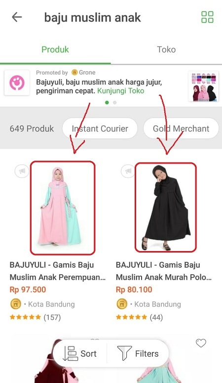 Halaman Pencarian Tokopedia