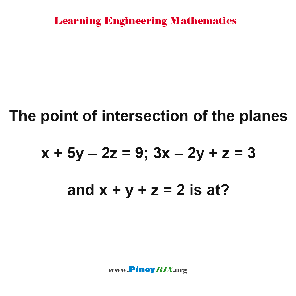 The point of intersection of the planes x + 5y – 2z = 9; 3x – 2y + z = 3 and x + y + z = 2 is at?
