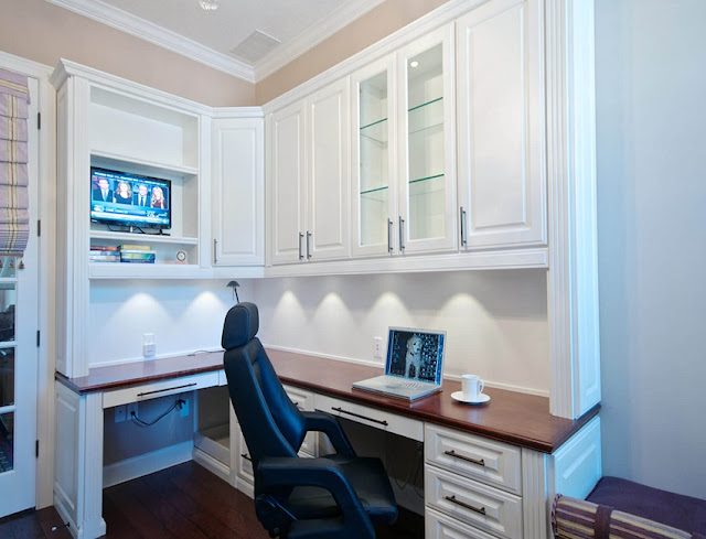 best white home office with built in desk and modern lighting ideas