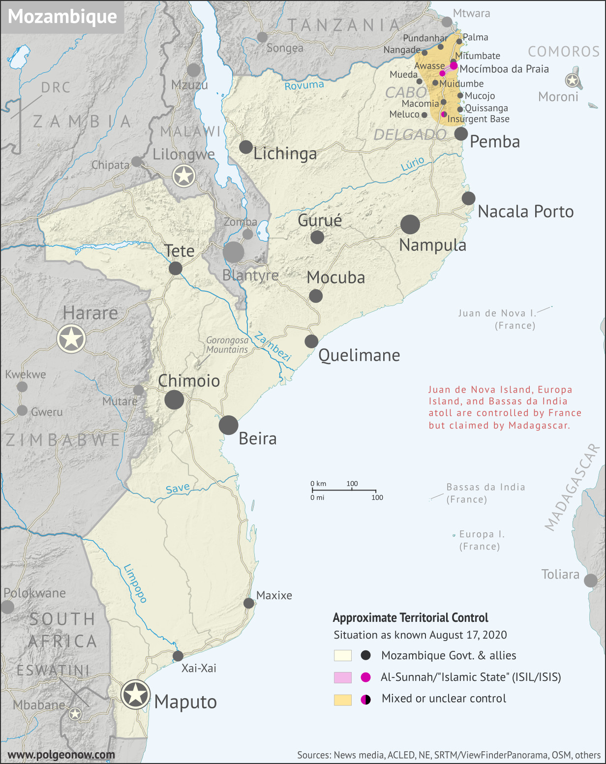Mozambique Insurgency: Map of ISIS control in Mozambique, or of control by local insurgent group Ahlu Sunnah Wa-Jamâ / Ahlu Sunnah Wa-Jamaa / Ahlu Sunnah Wa-Jamaah (al-Sunna / al-Sunnah) in northern Mozambique's Cabo Delgado province, with territorial control, roads, rivers, and terrain. Includes key locations of the insurgency such as Mocímboa da Praia, Awasse, Macomia, Mucojo, Quissanga, Meluco, Muidumbe, Mueda, Mitumbate (Mutumbate), Palma, Pundanhar, and Nangade, as well as other important cities such as Pemba, Nampula, and Maputo. Neighboring countries shown, including Comoros, Madagascar, and French territories of Juan de Nova Island, Bassas da India, and Europa Island. Updated to August 17, 2020. Colorblind accessible.