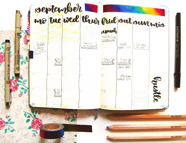 September bullet journal monthly log setup