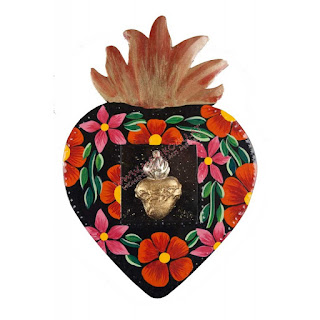 corazón de latón flores pintadas