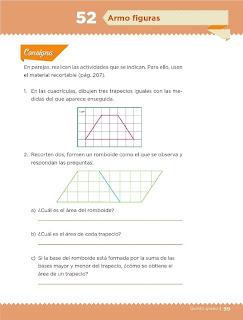 Apoyo Primaria Desafíos Matemáticos 5to Grado Bloque III Lección 52 Armo figuras