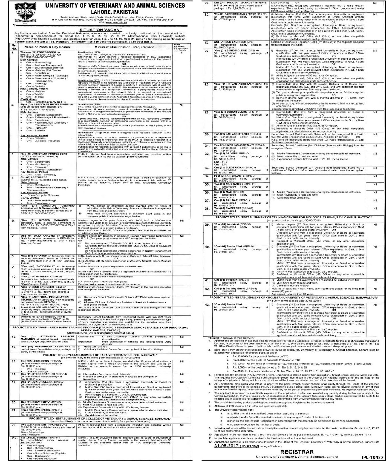 Jobs in University Of Veterinary And Animal Sciences Lahore 11 Aug 2017