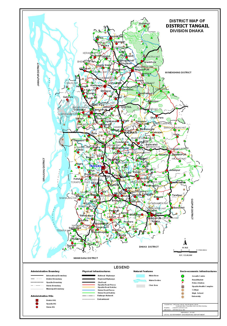 Tangail District Map Bangladesh