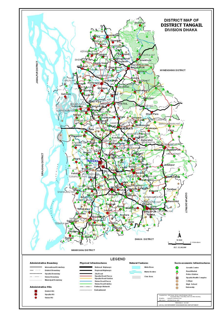 Tangail District Map Bangladesh