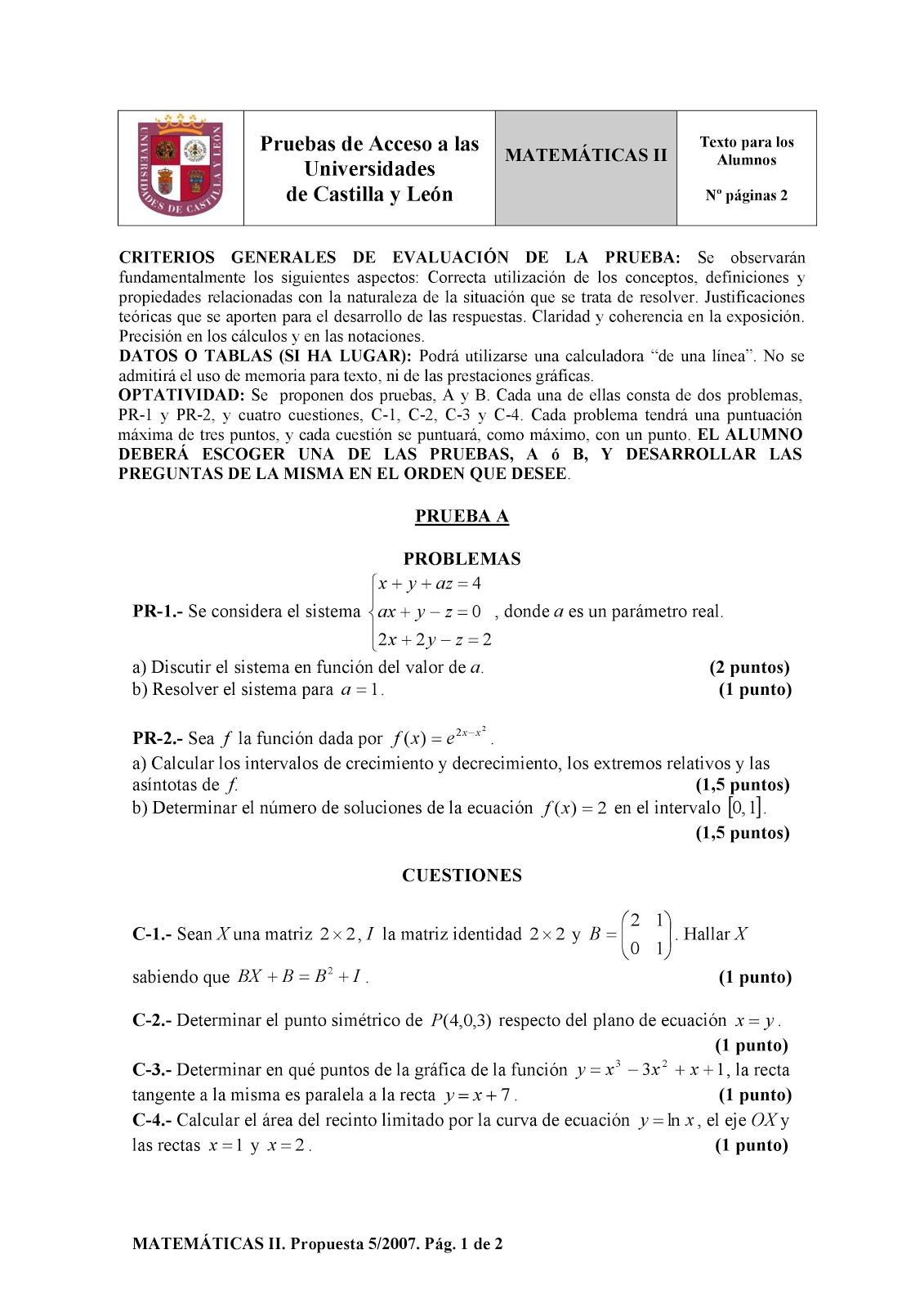 Exámenes de Evaluación Bachillerato Matemáticas para el acceso a la Universidad | EBAU 2018 | Convocatorias Junio + Septiembre