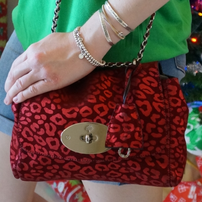 Mulberry Lily bag in maroon metallic suede leopard | Away From The Blue