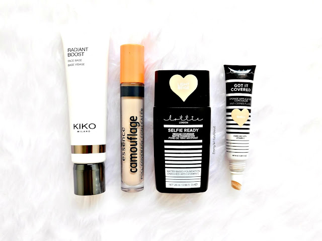 KIKO radiance boost, essence camouflage concealer, lottie london makeup