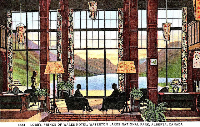 """a 1937 postcard illustration, """"Lobby, Prince of Whales Hotel, Waterton National park, Alberta, Canada""""n silhouette"""