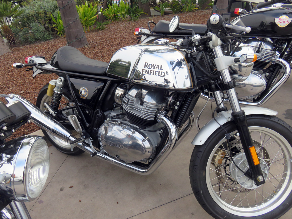 Cafe racer with chrome tank.