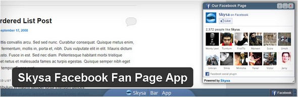 Skysa Facebook Fan Page App Plugin