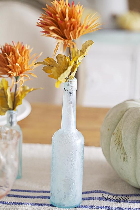 vintage aqua bottles faux flowers thanksgiving