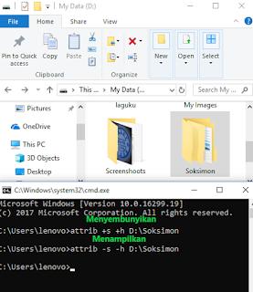 cara mudah menyembunyikan file dengan CMD tanpa Software