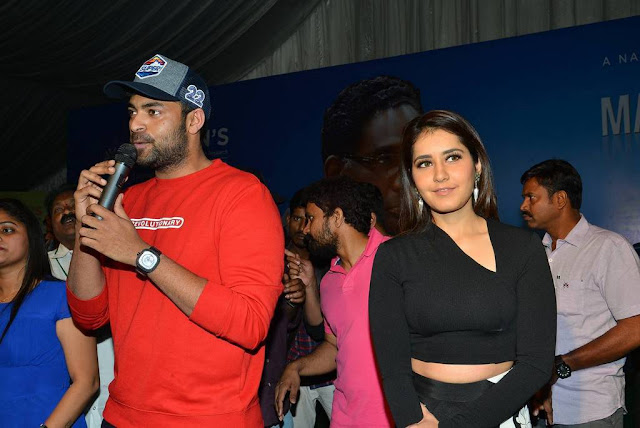 Raashi Khanna Stills At Tholi Prema Movie Promotions At Vignan College