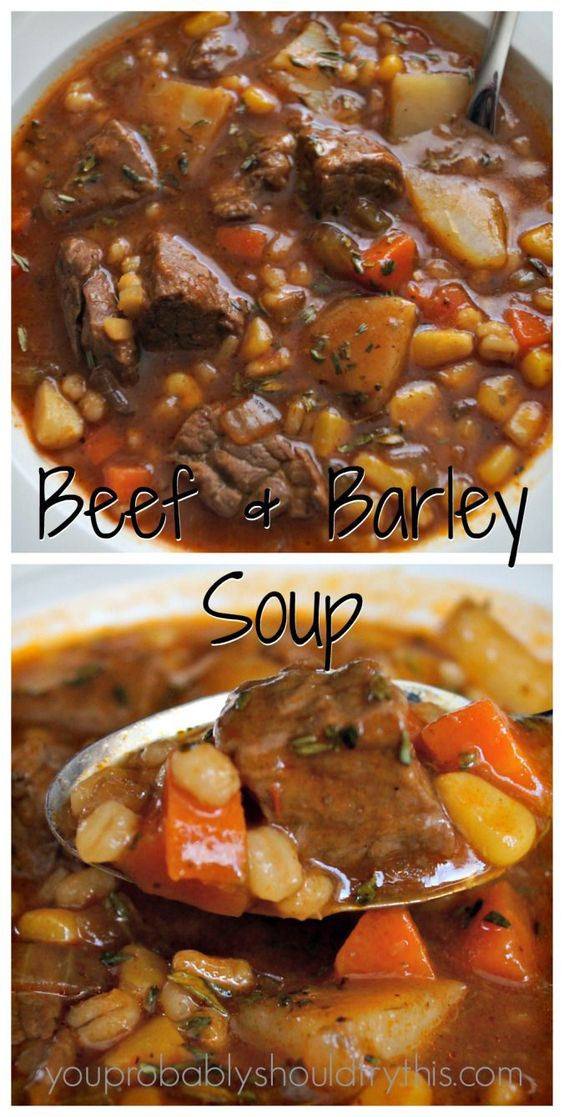 Hearty Beef & Barley Soup #Hearty #Beef #Barley #Soup Desserts, Healthy Food, Easy Recipes, Dinner, Lauch, Delicious, Easy, Holidays Recipe, Special Diet, World Cuisine, Cake, Grill, Appetizers, Healthy Recipes, Drinks, Cooking Method, Italian Recipes, Meat, Vegan Recipes, Cookies, Pasta Recipes, Fruit, Salad, Soup Appetizers, Non Alcoholic Drinks, Meal Planning, Vegetables, Soup, Pastry, Chocolate, Dairy, Alcoholic Drinks, Bulgur Salad, Baking, Snacks, Beef Recipes, Meat Appetizers, Mexican Recipes, Bread, Asian Recipes, Seafood Appetizers, Muffins, Breakfast And Brunch, Condiments, Cupcakes, Cheese, Chicken Recipes, Pie, Coffee, No Bake Desserts, Healthy Snacks, Seafood, Grain, Lunches Dinners, Mexican, Quick Bread, Liquor