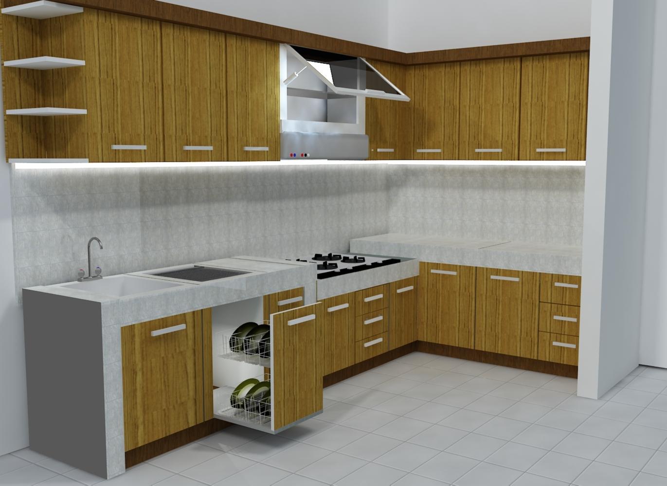 49 gambar kitchen set minimalis untuk dapur kecil dan for Kitchen set jadi