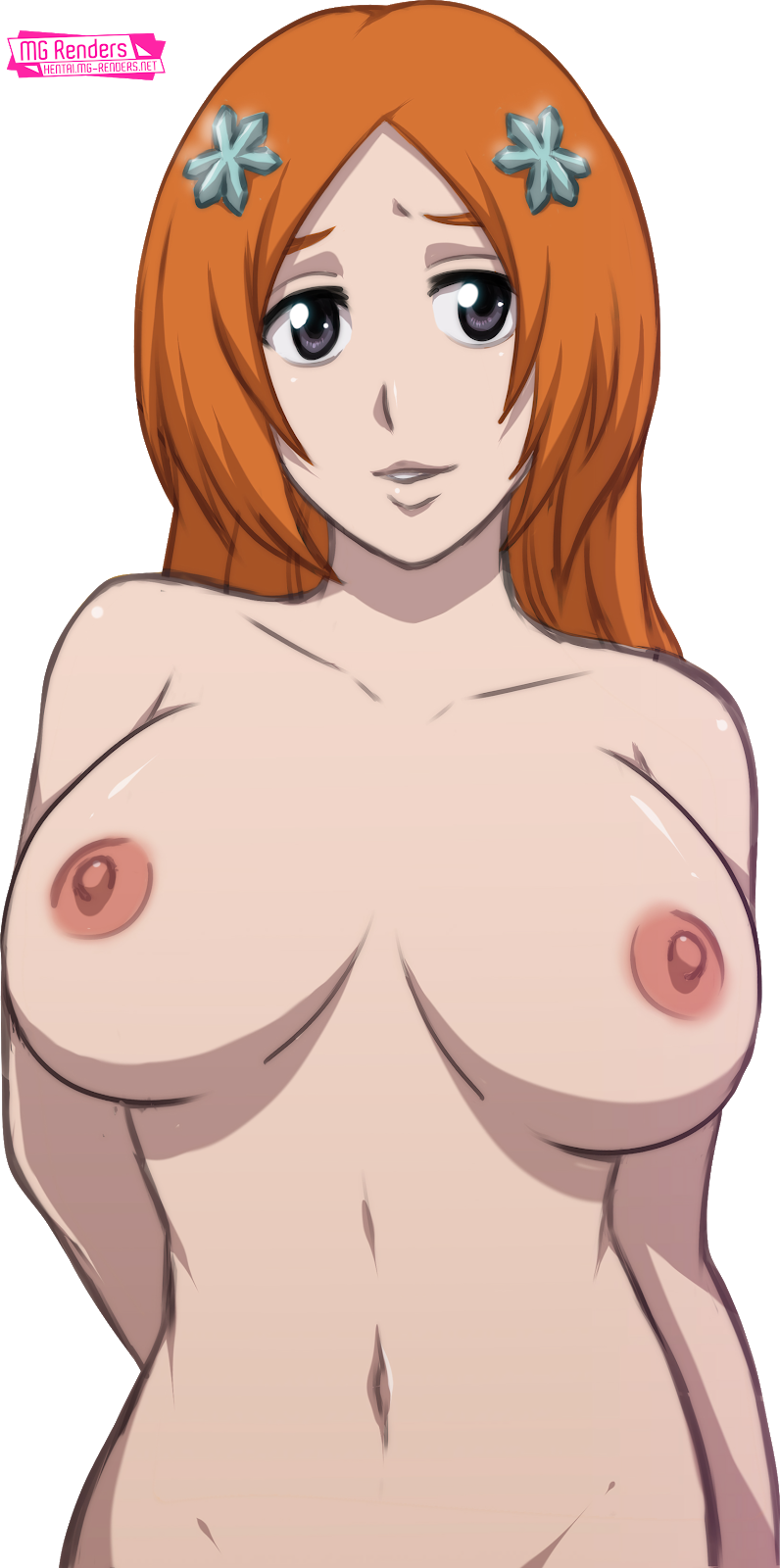 Tags: Anime, Render,  Bare shoulders,  BLEACH,  Huge Breasts,  Inoue Orihime,  Navel,  Nipples,  No bra,  PNG, Image, Picture