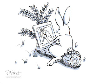 Cottontail Rabbit Makes Art Ink Drawing by Tawnya Boe