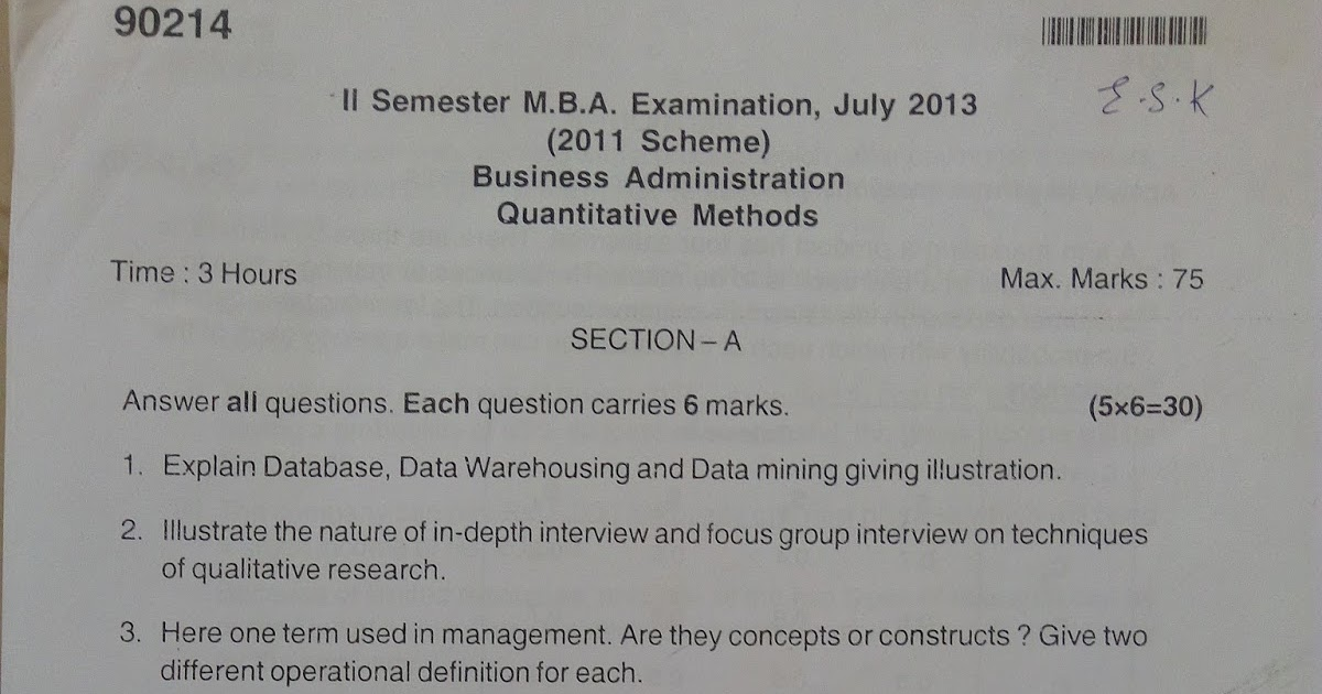 MBA Mysore University Question Papers