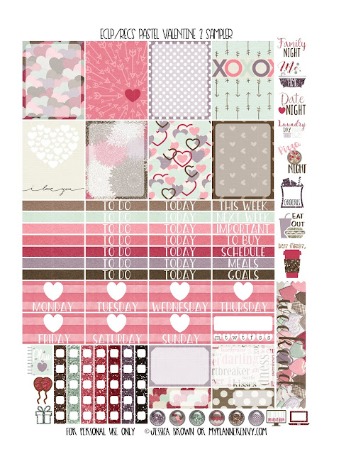 Free Printable Pastel Valentine 2 Sampler for the Vertical Erin Condren and Recollections Creative Year Planner from myplannerenvy.com