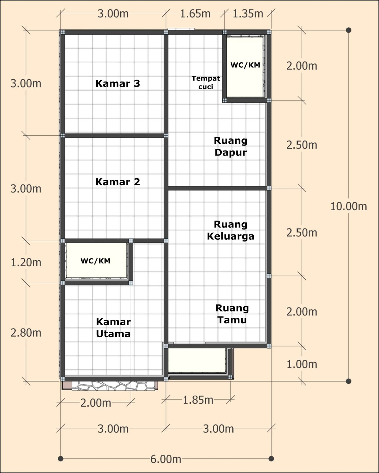Desain Rumah Minimalis Sederhana 6x10 meter 3 Kamar Tidur