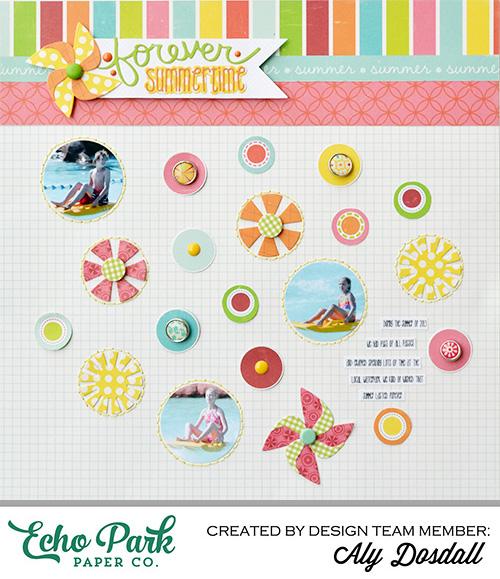summer scrapbook page, die cuts, hand stitching, scrapbooking, scrapbook layouts
