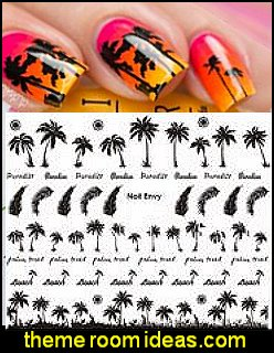 themed nail designs - tropical nails - palm tree nail stickers - summer nail art - tropical nail designs - nail stickers - nail decals - nail polish - nail decorations