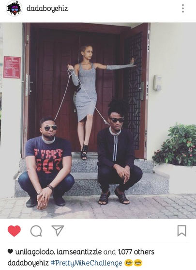 #PrettyMikeChallenge: Nigerian girl puts two guys in dog leash