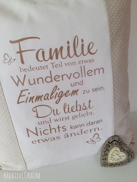 Geschenk zum Muttertag, Selbstgenähtes zum Muttertag, Kissen beplottet, Spruch Plotter