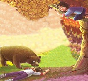 los dos amigos y el oso cuento para imprimir
